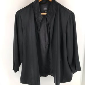 Eileen Fisher Black Silk Open Blazer